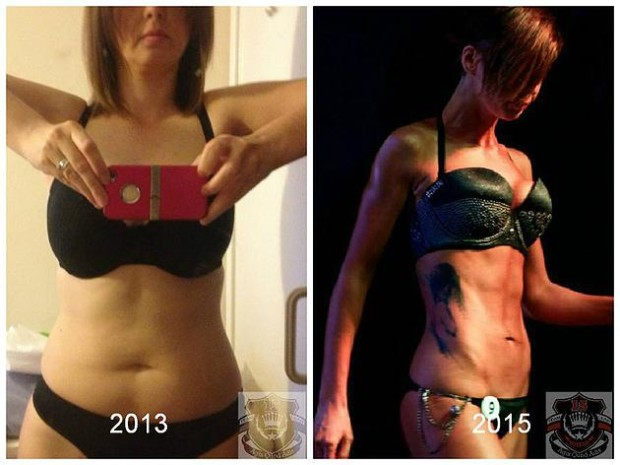 Natalie before and after her bodybuilding training